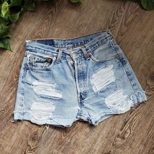 Levi's Vintage Distressed High Waisted Mom Shorts